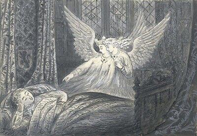 Thomas J. Marple, Angels with Sleeping Child-Late 19th-century pen & ink drawing