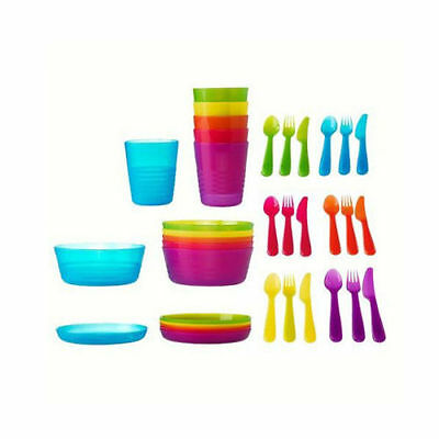 IKEA 36pc Baby Kids Plastic Cup Plates Bowls Cutlery Mugs Birthday/Party/Camping