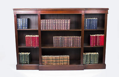 Antique Edwardian Mahogany Breakfront Open Bookcase c.1900