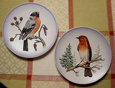 Set of (2)W.GOEBELS wild bird plates.1973 No.1 ROBIN & 1977 No. 4 Bullfinch. Exc