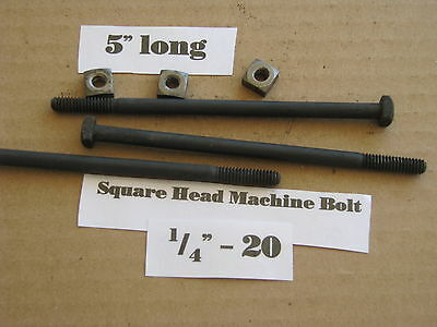 "The Antique 1/4' -20 X 5""  Square Head Bolts with Nuts  NOS LOT of 10"
