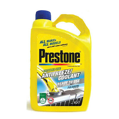Prestone Antifreeze coolant Ready to Use 4L red green blue mixes with all makes