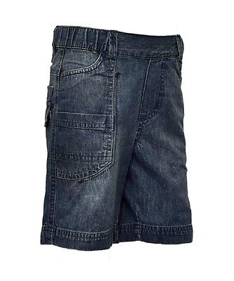 Boys Blue Cotton Dirty Wash Pre Faded Elasticated Waist Denim Jeans Shorts2-4yrs