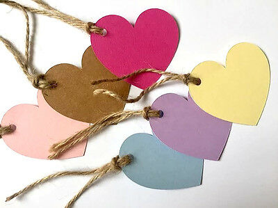 25/50/100 HANDMADE HEART GIFT TAGS-NAME CARD/WEDDING FAVOUR LABEL TAG-PLAIN-6cm