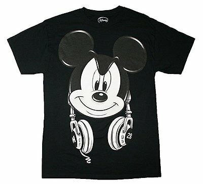 Disney Youth Boys T Shirt Tee Top Mickey Mouse Headphones Black