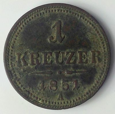 1851-A AUSTRIA KREUZER COPPER COIN (un-polished)
