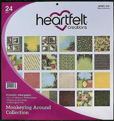 Heartfelt Creations Monkeying Around Collection Paper 24 12x12 Double-sided