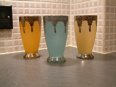 A Set Of 3 Russian Glasses Overlaid With Silver