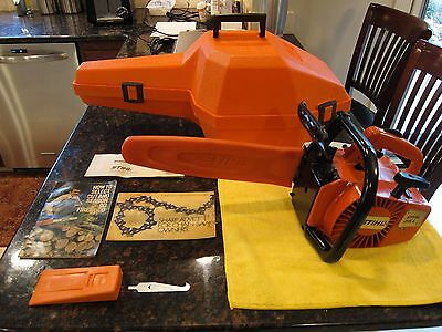 STIHL 015 L Chainsaw Us Made Includes Case (2) Manuals, Tool, Wedge Great  Cond