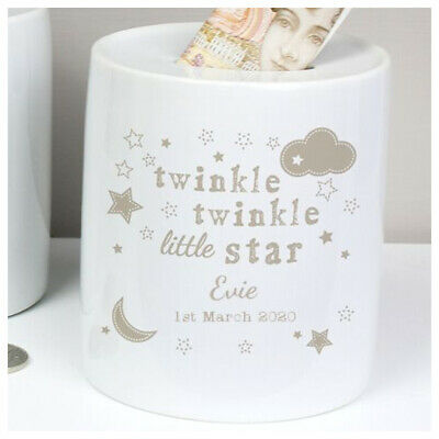 PERSONALISED Money Box Christening Birthday Baptism Newborn Gift Twinkle Twinkle