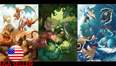 "Pokemon Charizard Bulbasaur Water 42"" x 24"" Large Wall Poster Print Anime NEW #1"