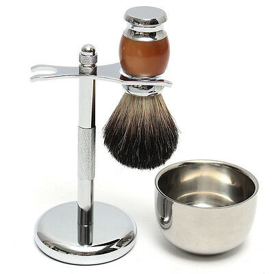 Shaver Kit Pure Badger Wet Shaving Brush with  Mug Bowl  and Stand Shave Razor S