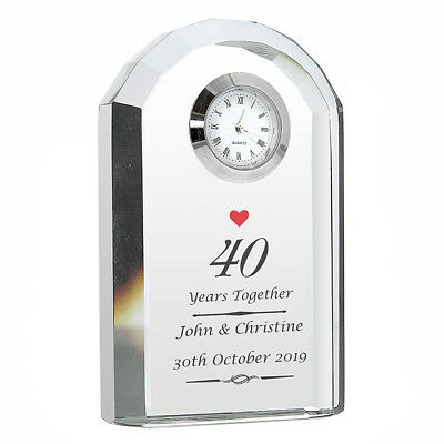 Personalised Wedding Anniversary Crystal Clock Ruby Silver Golden Gift Idea