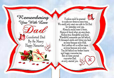 Dad Memorial Remeberance/ Anniversary Graveside Keepsake Butterfly Card & Holder