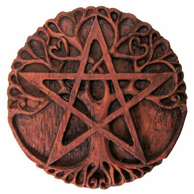 NEW Tree Pentacle Plaque Dryad Design by Paul Borda Wood Color Resin Altar Tile
