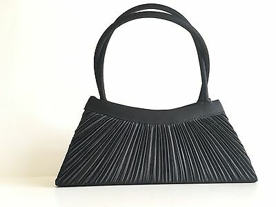 Womens Handbag by Jessica McClintock Black Vintage Pleated Evening Formal Clutch