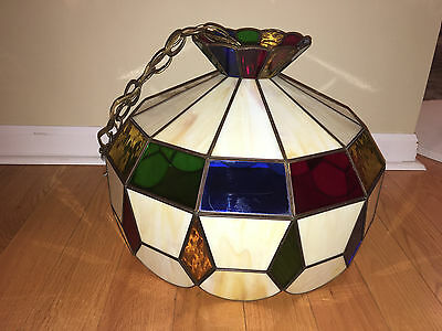 Vintage Jewel Tones Stained Glass Hanging Lamp