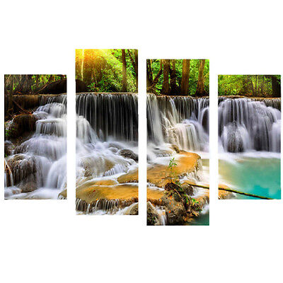 4Pcs Waterfall Combination Painting Printed On Canvas Frameless Drawing Home Wal