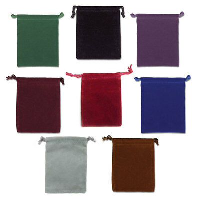 "Set of 8 Velveteen Mojo Bags 3"" x 4"" - One in Each Color! Drawstring Pouch Bag"