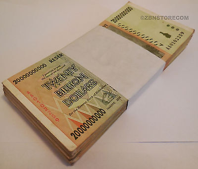 20 Billion Zimbabwe Dollars x 100 Banknotes ~ AA AB 2008 Bundle Currency 100PCS