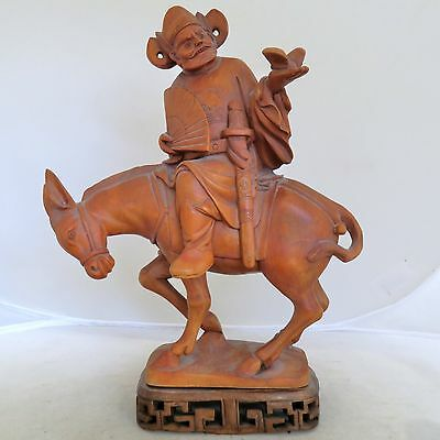 """9.85"""" Chinese Carved Wood or Boxwood Immortal God or Dignitary Man on Donkey"""