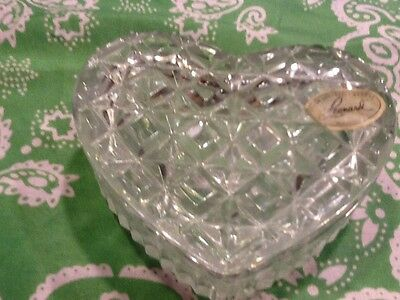 Vintage crystal heart shape box Mande by Leonard made in west Germany measures 3