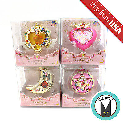 NEW Lot 4pcs Japan Miniaturely Tablet Sailor Moon 3 Set Bandai Candy Toy Compact