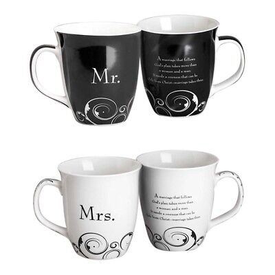 Mr. and Mrs. Coffee Mugs - Set of 2 - His & Hers Marriage Wedding Gift - 16 oz