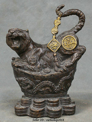 "6"" Chinese Bronze Fengshui Wealth Dragon Yuanbao Tiger Animal Statue Sculpture"
