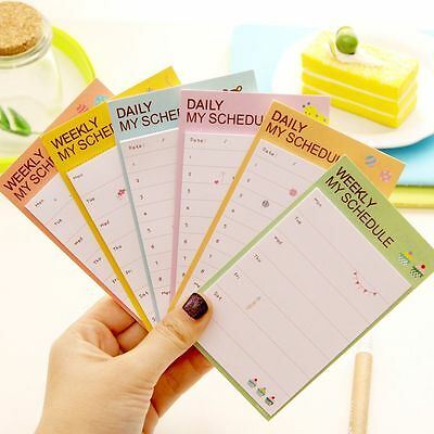 Weekly Daily Schedule Memo Pad N Times Sticky Notes School Office Bookmark