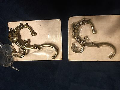 Antique Solid Brass Double Coat Hooks