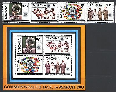 TANZANIA Sc217-20a SG375-78,MS379 MNH 1983 Commonwealth Day set of 4+MS SCV$6