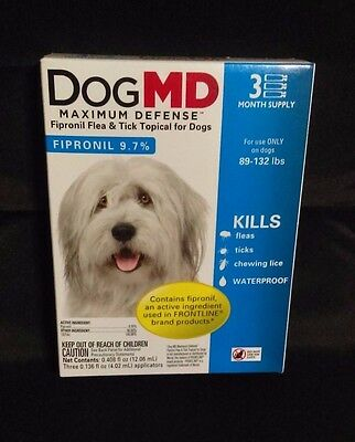 Dog MD Fipronil 9.7% Flea & Tick Treatment for Dogs (89-132 lbs) 3 pack / months