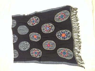 Boiled Wool Shawl Stole Scarf Hand Embroidery Paisley Jamawar Antique Design 291