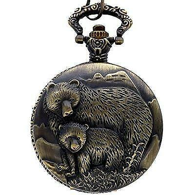 New Brand Mall Classic Vintage Bronze Two Bear's Antique Design Case for Men's