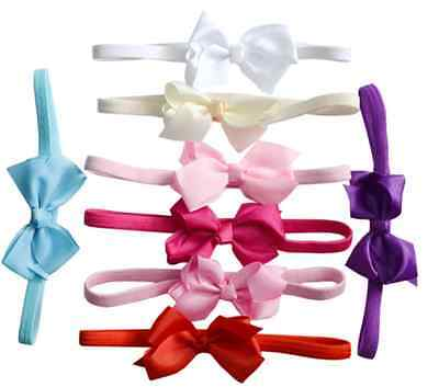10pcs Elastic Baby Headdress Kids Hair Band Girls Bow Newborn Headband Ribbon
