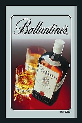 Ballantines Bottle & Glasses Nostalgia Bar Mirror 8 11/16x12 5/8in