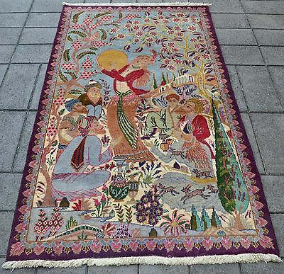 Hand Knotted Authentic Persian Kashmar Pictorial Antique Rug. 190 X 110 Cm