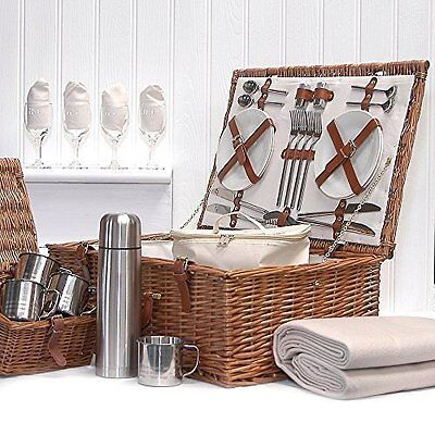 Deluxe Sandringham 4 Person Wicker Picnic Hamper Basket with Accessories -...