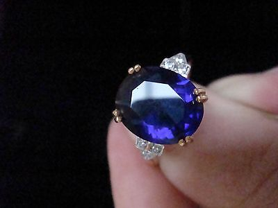 Edwardian Style 18Ct Gold On Silver Pave Sapphire Cz Ring