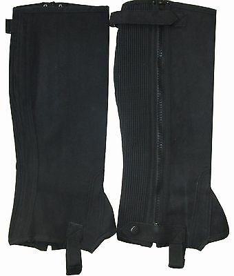 1 PAIR New Ladies Mens Black Washable Amara Suede Horse Riding Half Chaps Gaiter