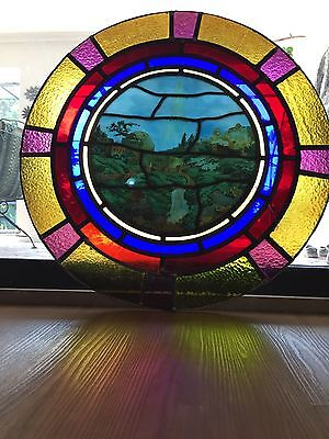 ANTIQUE ASTHETIC c1890 ~ STAINED GLASS HAND PAINTED BETHLEHEM WINDOW ~