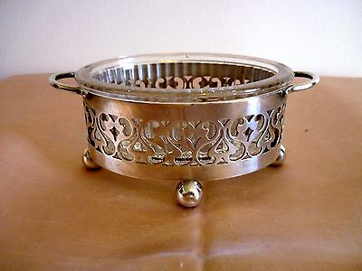 A Vintage Small Silver Plated Serving Dish With Glass Insert - Pretty