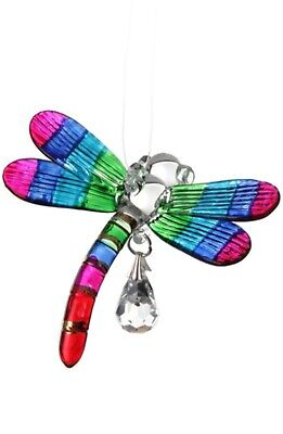 Fantasy Glass Dragonfly Suncatcher With A Swarovski Crystal - Rainbow