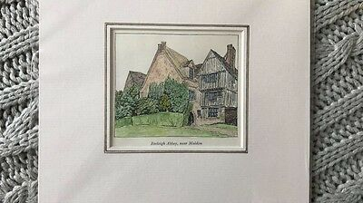 Original Line Engraving Of Beeleigh Abbey Near Maldon Essex