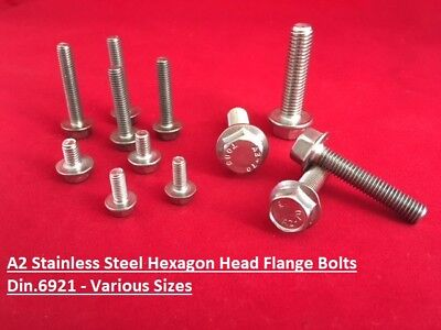 M5 M6 M8 M10 Flanged Hexagon Head Bolts Flange Hex Screws A2 Stainless Steel
