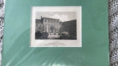 Original Copper Engraving Of The Court Of Gosfield Hall Essex