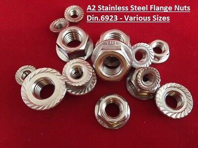 Stainless Steel Flange Nuts A2-304 To Fit Metric Bolts and Screws M5, 6, 8, 10,