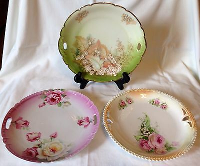Mixed Lot Of 3 Beautiful Antique / Vintage Hand-painted Double Handled Plates