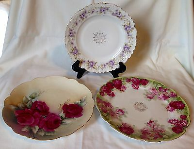 Mixed Lot Of 3 Beautiful Antique / Vintage Hand-painted Plates